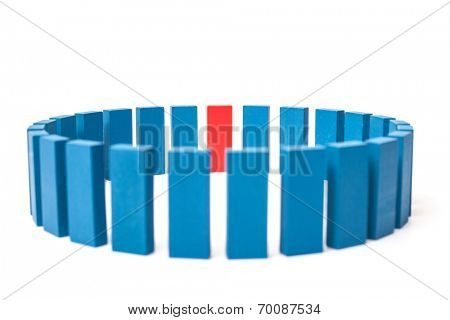 Circle of blue blocks with single red one