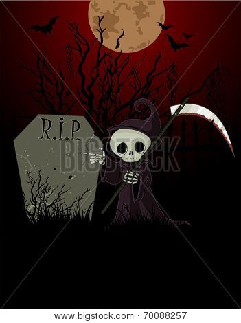 Cute cartoon grim reaper with scythe pointing to tombstone