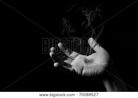 Human Hand With Hot Spot That Smokes Artistic Conversion