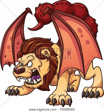 Cartoon manticore. Vector clip art illustration with simple gradients. All in a single layer.