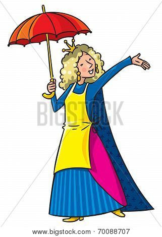 Happy singing woman in crown with umbrella and apron