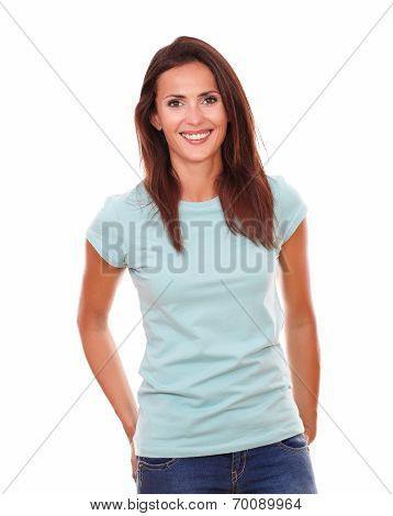 Charming Hispanic Woman Smiling At You