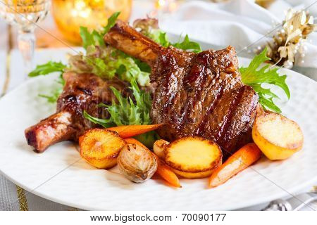 Veal chop with vegetables for Christmas dinner