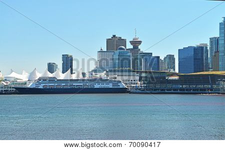 VANCOUVER, CANADA JULY 24: View of Vancouver downtown and Canada Place on July 24, 2014.