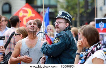 Protest Manifestation Against War In Ukraine In Republic Square Of Paris