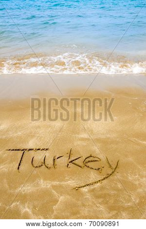 Turkey Written On Sandy Beach