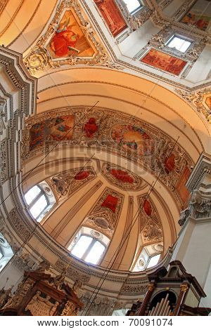 SALZBURG, AUSTRIA - AUGUST 2012 : Beautiful ceiling at the Salzburg Cathedral (Salzburger Dom) on August 6, 2012 in Salzburg, Austria. It has paintings the life of Christ.