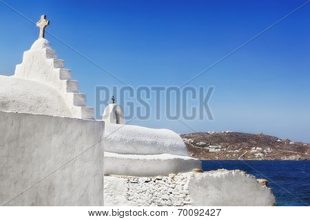 Whitewashed church on island of Mykonos, Greece.