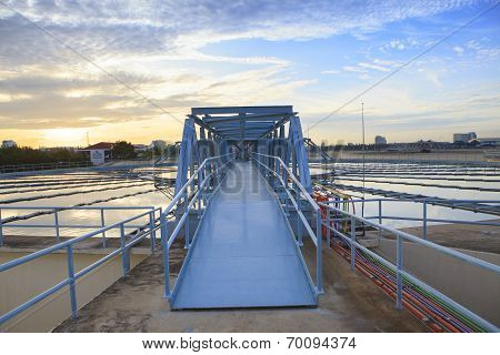 Perspective Of Metal Bridge For Working In Big Tank Of Water Supply In Metropolitan Water Works Indu