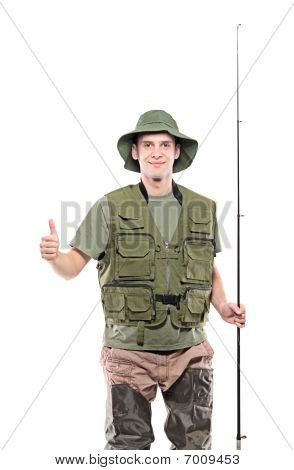 Fisherman with thumbs up
