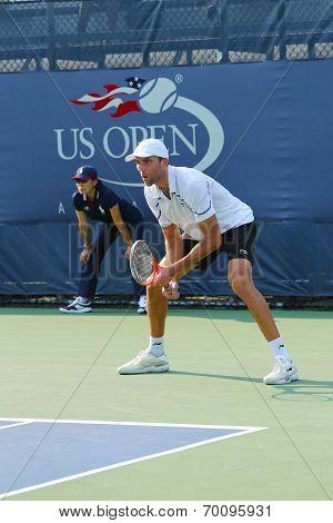 Professional tennis player Ivo Karlovic during qualifying match match at US Open 2013