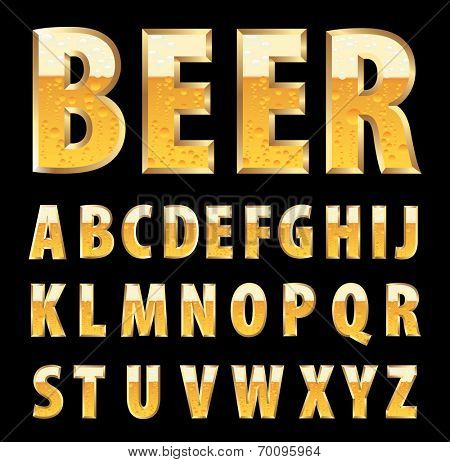 vector golden letters with beer texture