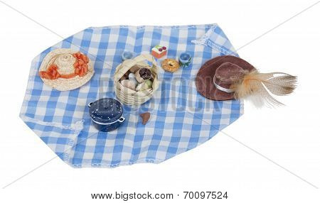 Picnic Food Laid Out On Gingham Blanket
