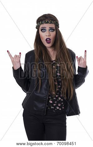 Gorgeous young rebel hippie rocker girl