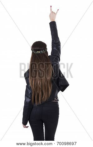 Beautiful young hippie rocker funky fashionable girl