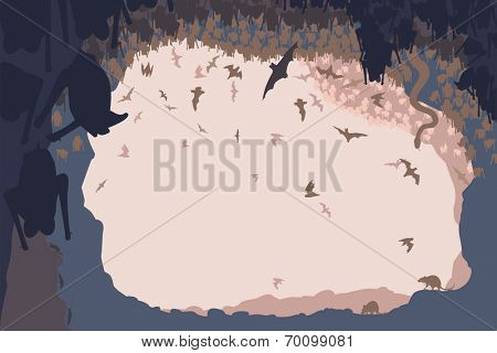 Editable vector illustration of animals in a bat cave with all figures as separate objects