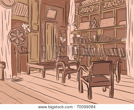 Editable vector brown sketch of an olden reading room or living room with wooden furniture