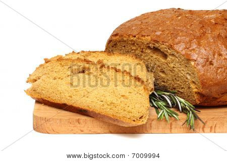 Cut Bread, Herb And Wooden Board Isolated On A White Backgroud