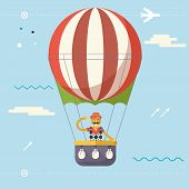 foto of geek  - Travel Lifestyle Concept of planning a Summer Vacation Tourism and Journey Symbol Happy Man Geek Hipster Flying Sky Dirigible Balloon Modern Flat Design Icon Template Vector Illustration - JPG
