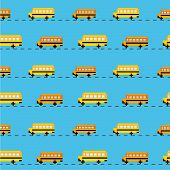 Постер, плакат: Pixel school bus background