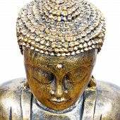 picture of siddhartha  - golden buddha face isolated on white close up - JPG