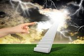 stock photo of stairway to heaven  - Finger indicates stairway with green grass and thunderstorm - JPG