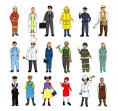 stock photo of cabin crew  - Multiethnic Group of Children with Various Occupations Concept - JPG