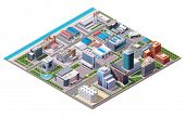 foto of house plant  - Isometric industrial and business city district map  - JPG