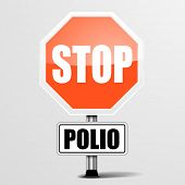 stock photo of polio  - detailed illustration of a red stop polio sign - JPG