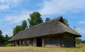 picture of threshing  - Old cottage-cum threshing barn on the island of Hiiumaa, Estonia