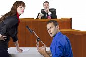 picture of corruption  - corrupt judge taking bribe in an unfair courtroom trial - JPG