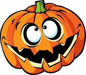 stock photo of funny ghost  - Scary halloween pumpkin cartoon isolated on white background - JPG