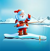 pic of snow capped mountains  - Santa Claus is standing on an ice floe - JPG