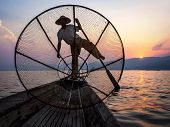 picture of shan  - Fisherman in Inle Lake at sunset - JPG