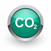 foto of carbon-dioxide  - carbon dioxide green glossy web icon - JPG