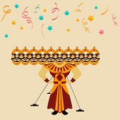 pic of ravana  - Illustration of a Ravana statue with his ten heads on colorful stars and ribbons decorated background for Happy Dussehra festival - JPG