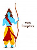 image of dussehra  - Blue illustration of Lord Rama holding his bow and giving blessing in white background with long hair and Dussehra text - JPG