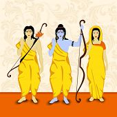picture of sita  - Blue illustration of Lord Rama with his brother Laxman and Goddess Sita in yellow clothes handing a bow in orange background - JPG