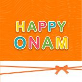 stock photo of onam festival  - Stylish colorful text Happy Onam on orange background - JPG
