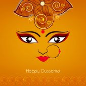 picture of nose ring  - Illustration of Goddess Duraga beautiful face  with big eyes wearing nose ring with three red pearls on a flowrel decorated orange background - JPG