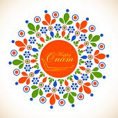 picture of onam festival  - Colorful floral design decorated rangoli with snake boat and golden text Happy Onam - JPG