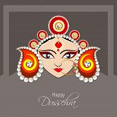 stock photo of goddess  - Illustration of the face of Goddess Durga with beautiful eyes wearing a golden nose ring and a heavy colourful crown decorated with red and white pearls - JPG
