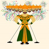 pic of dussehra  - Illustration of Ravana with his ten heads in traditional dress on colorful fireworks decorated background for Dussehra festival celebrations - JPG