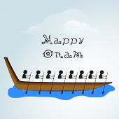 picture of onam festival  - Silhouette of South Indian people participating in snake boat racing on creative clouds background for Happy Onam Festival - JPG