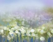 stock photo of impressionist  - Abstract white wild flower oil painting - JPG