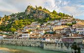 stock photo of albania  - View at the old city of Berat  - JPG