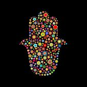 picture of hamsa  - illustration of hamsa shape made up a lot of multicolored small flowers on the black background - JPG