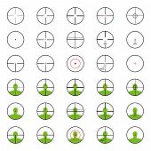 stock photo of crosshair  - A crosshairs set with red sights - JPG
