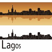 stock photo of lagos  - Lagos skyline in orange background in editable vector file - JPG
