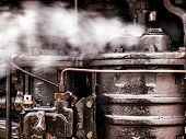 picture of locomotive  - A detailed view of portion of the steam engine from an early 20th century steam locomotive - JPG